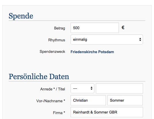 Spendenaktion für die Friedenskirche Potsdam
