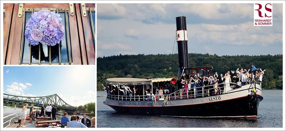 Eine Bootsfahrt am Hochzeitstag ist eine wunderbare Lösung für die Fahrt zum Ort der Feier