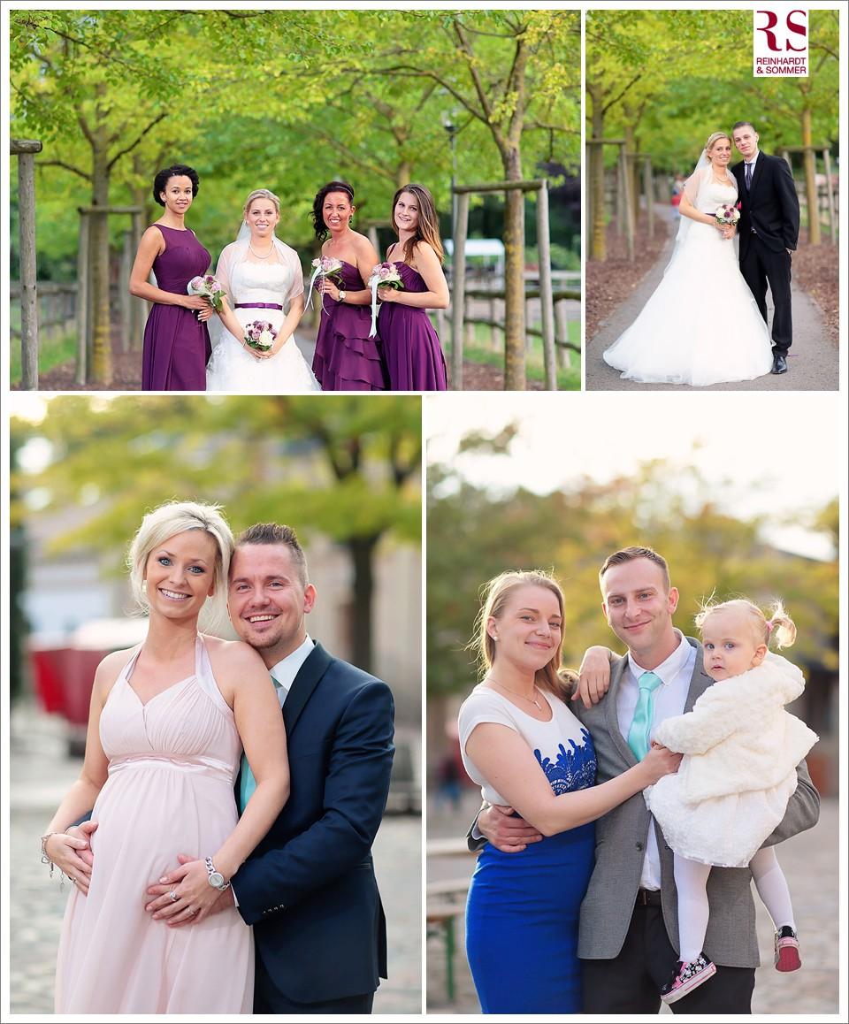 Fotos der Familie und der Gäste der Hochzeit