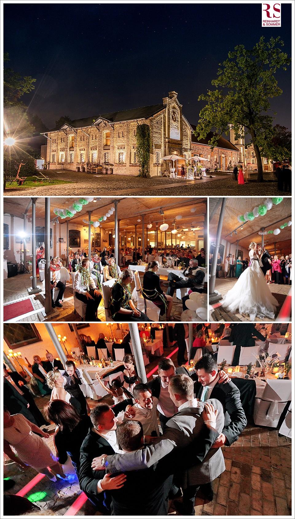Rauschende Party nach Sonnenuntergang einer Hochzeit im Ochsenstall Britz