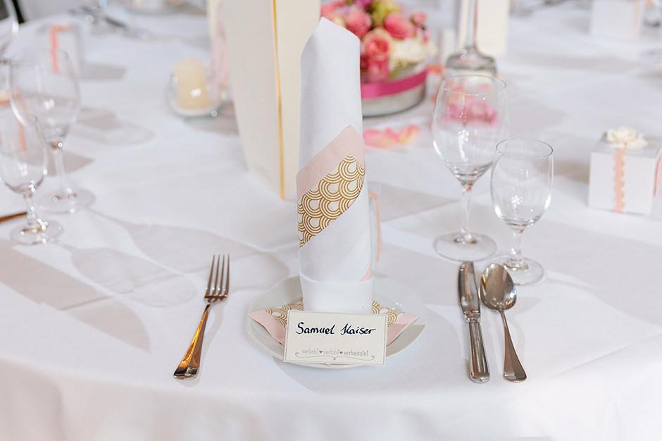 Tischdekoration auf Hochzeit