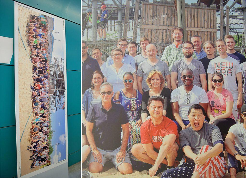 Gruppenfoto als gedrucktes Wandbild für das Büro