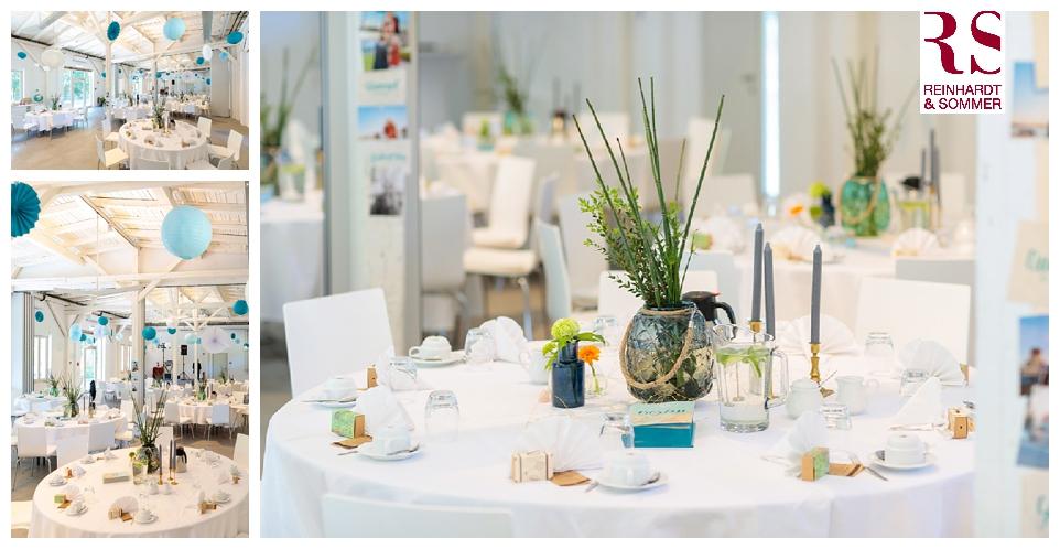 Hochzeitsdekoration auf Tischen