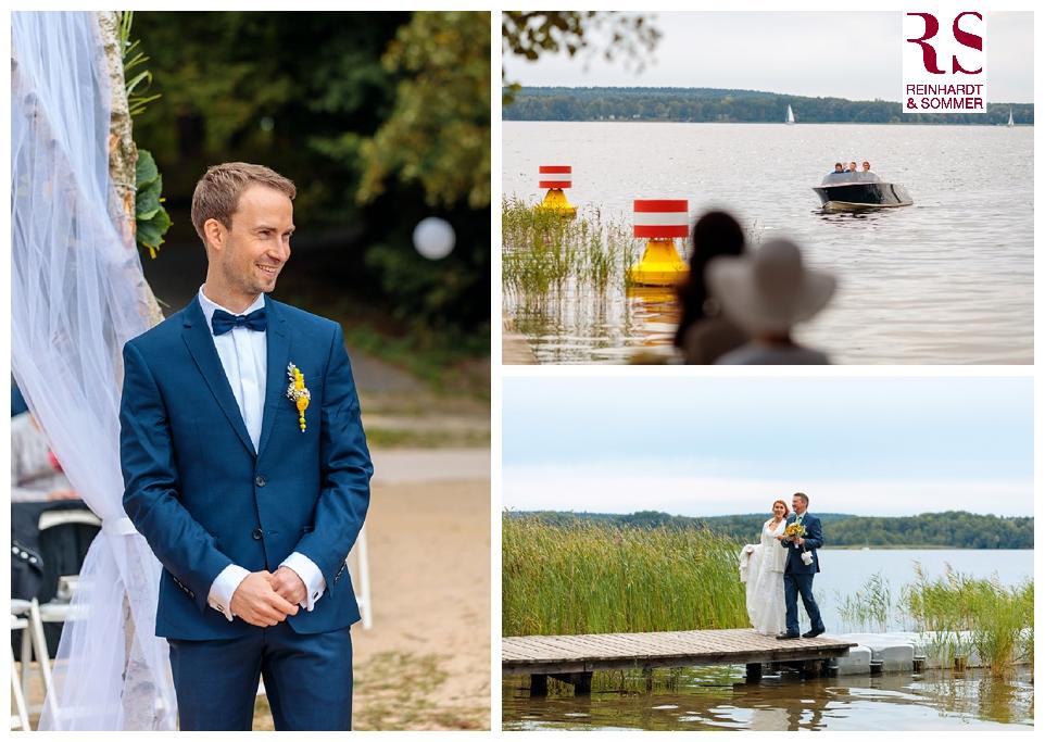 Die Ankunft der Braut am Ort der freien Trauung mit dem Boot