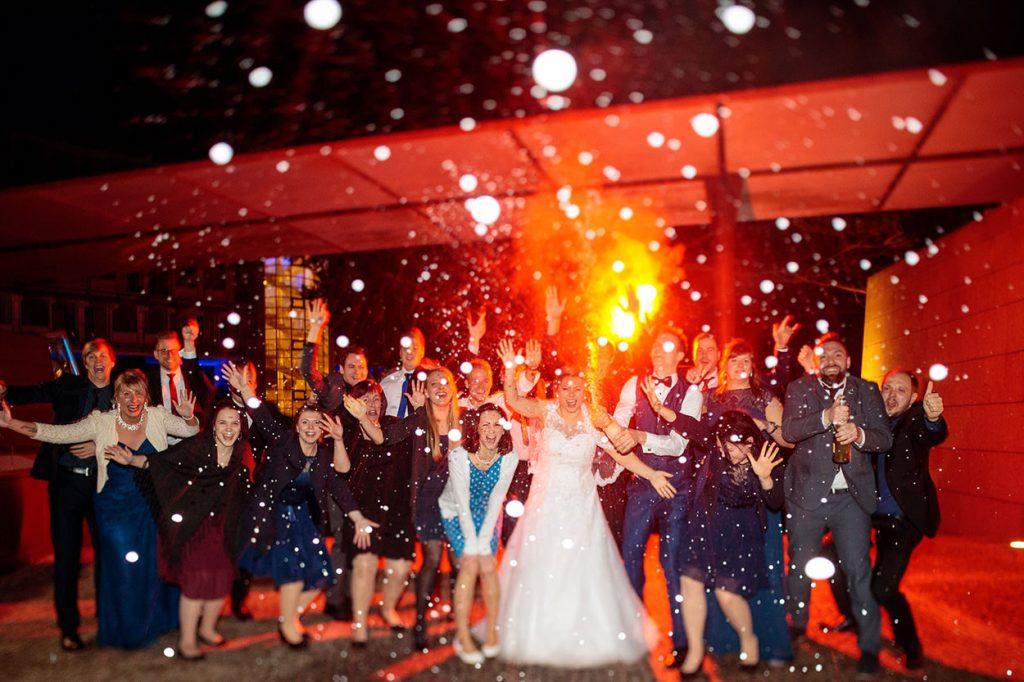 Champagnerdusche bei Hochzeit im Hotel in Potsdam
