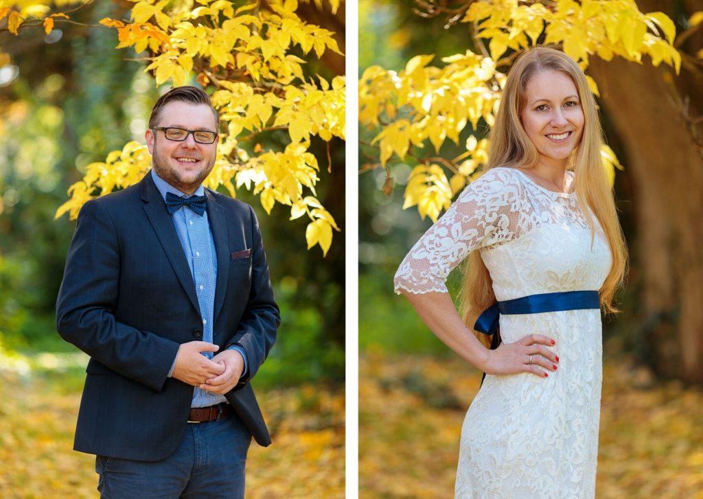 Braut und Bräutigam beim Verlobungsshooting im herbstlichen Potsdam mit abgestimmten Outfits