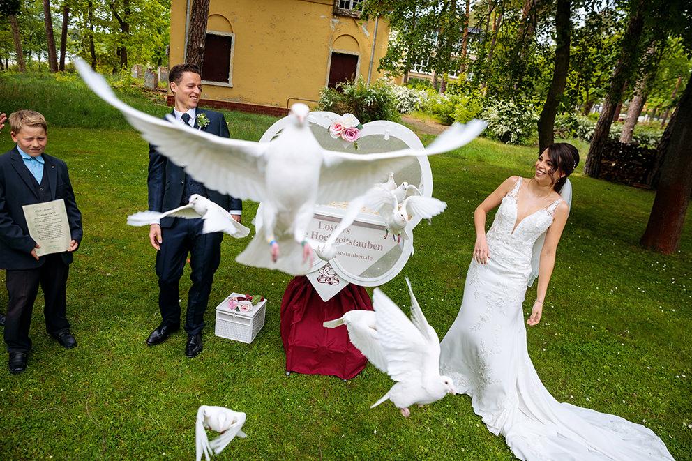 Bei der Hochzeit werden Tauben fliegen gelassen