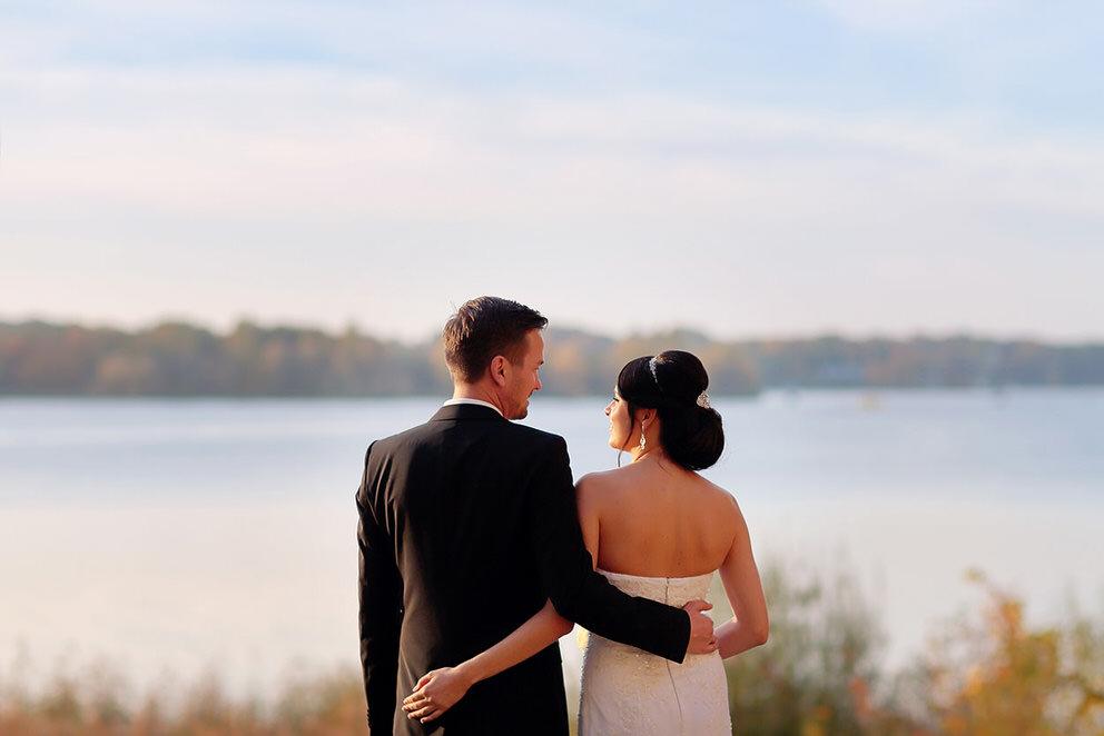 Hochzeitsfotos an der Havel zum Sonnenuntergang