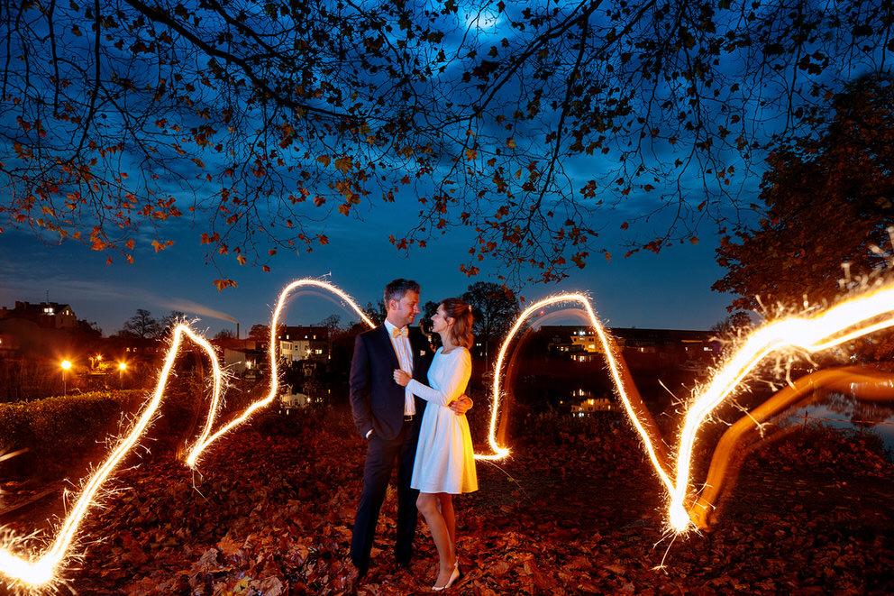Special Effekt bei diesem Hochzeitsfoto im Herbst