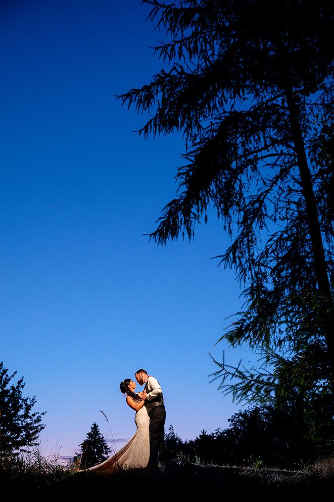 Hochzeitspaar zur blauen Stunde