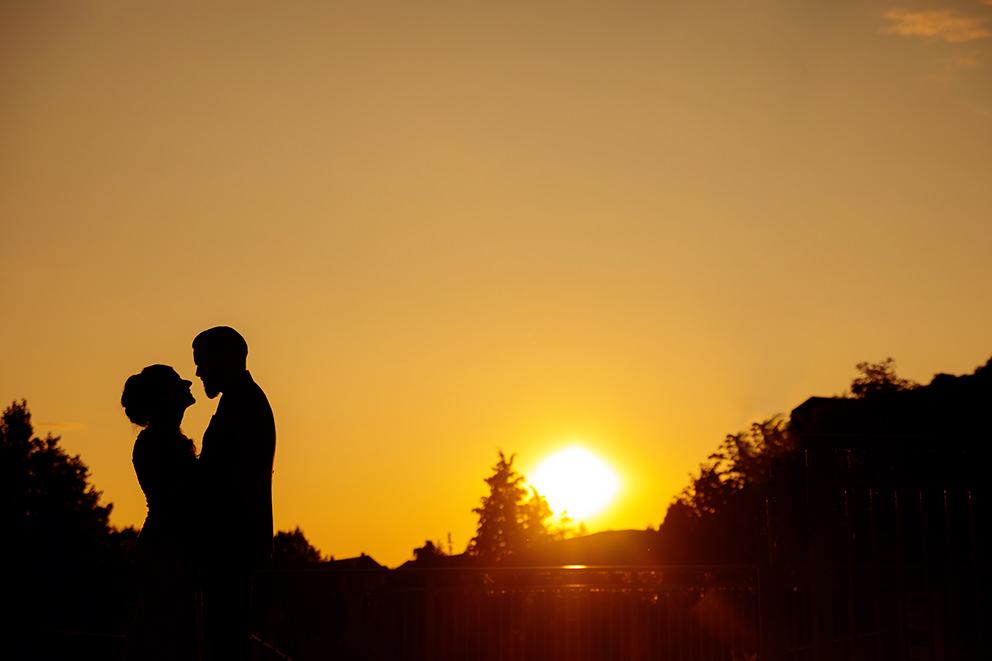 Hochzeitsbilder im Sonnenuntergang