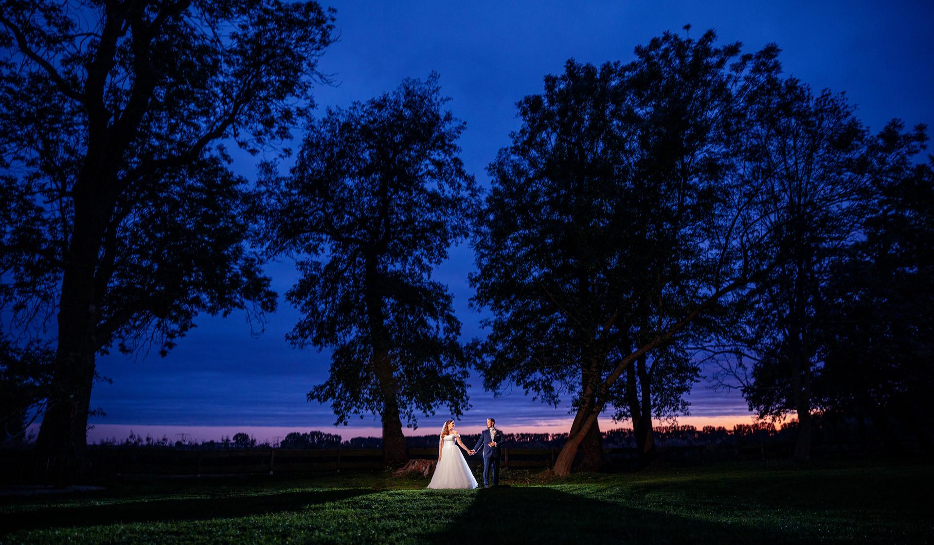 Hochzeitsfotograf auf Schloss Diedersdorf in Teltow-Flaeming mit Brautpaar zur Blauen Stunde