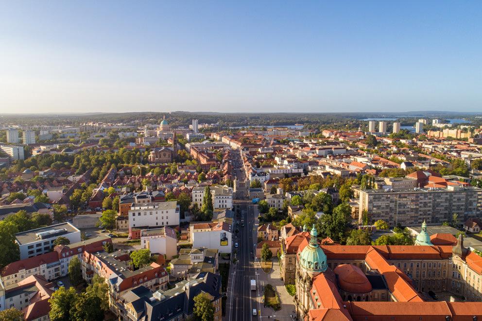 Drohnenfoto in Potsdam von Immobilienfotograf in Innenstadt