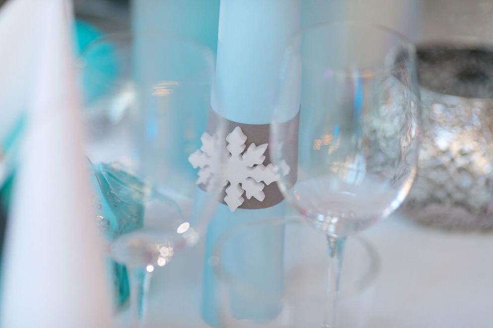 Eine Schneeflocke als Hochzeitsdekoration