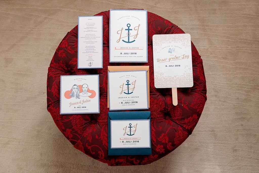 Maritime Hochzeitseinladungen und Details