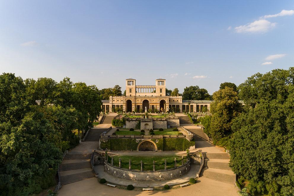 Luftaufnahme von der Orangerie in Potsdam