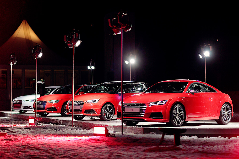 Audi cars parking outside the VIP tent