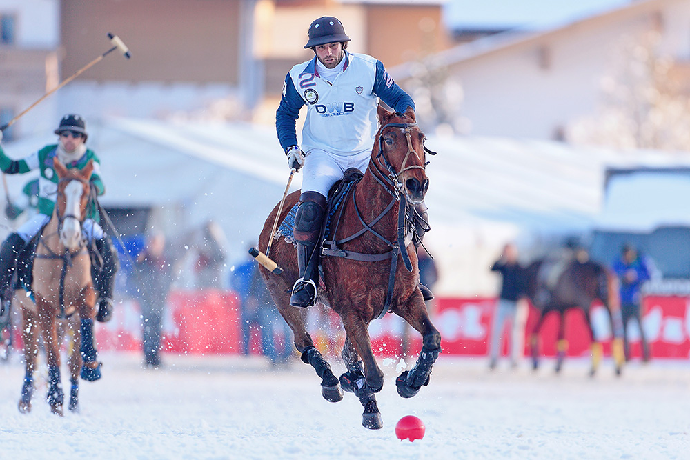 Polo player on his horse during the match