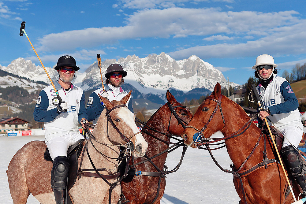Group of polo players on horses