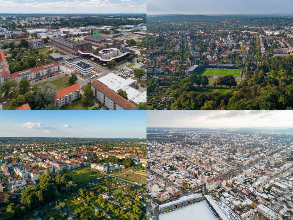 Babelsberg in Drohnenfotos: Karli, Filmstudios und Gewerbegebiet