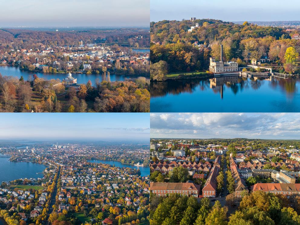 Berliner Vorstadt in Luftaufnahmen: Luftbilder im Herbst um den Heiligen See mit Drohne