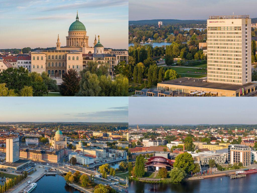 Die Innenstadt von Potsdam mit dem Barberini, der Nikolaikirche, dem Mercure-Hotel und der Alten Fahrt