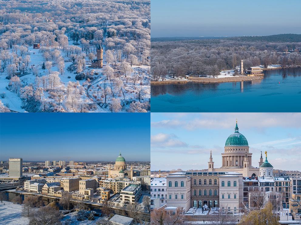 Winterfotos von Potsdam im Schnee in Luftaufnahmen: Luftbilder mit Drohne