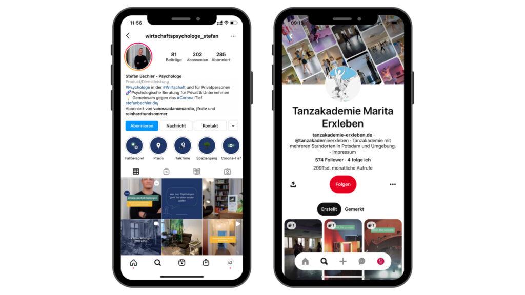 Kundenbeispiele die du direkt bei Instagram und Pinterest finden kannst